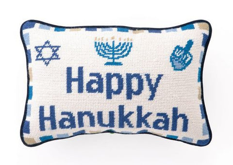 Happy Hanukkah Needlepoint Pillow