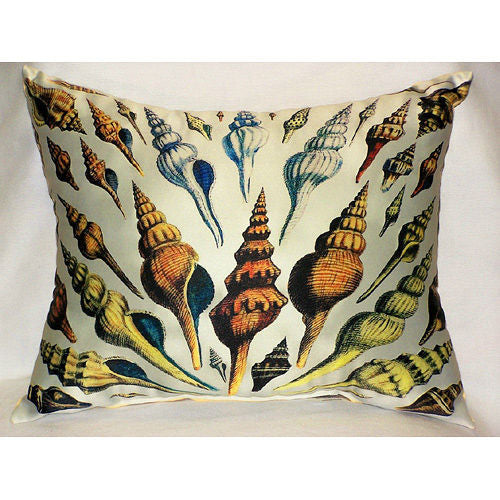Multi-shells Antique Print Pillow - Indoor/Outdoor