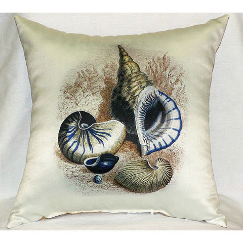 Three Shells Antique Print Pillow - Indoor/Outdoor