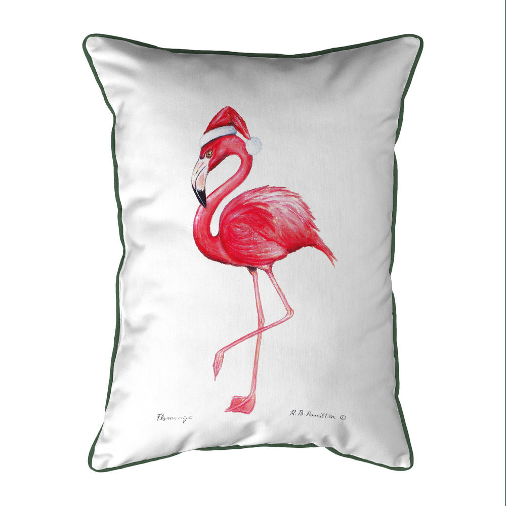 Betsy Drake Flamingo Santa Extra Large Zippered Indoor/Outoor Pillow