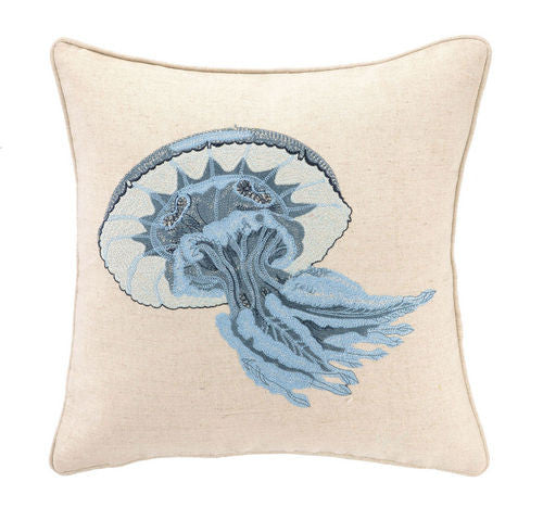 Jelly Fish Embroidered Pillow