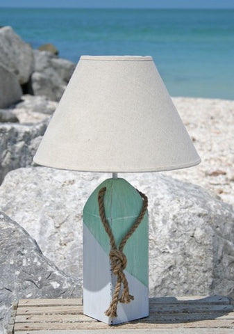 Buoy Lamp- Aqua/White Diagonal with Linen Shade