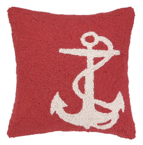 Large White Anchor Red Hook Pillow- Backordered Item!