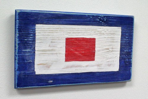 Nautical Wood Signal Flag- W (Whiskey)