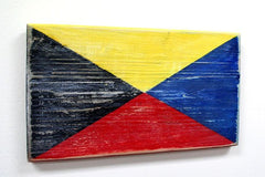 Nautical Wood Signal Flag- Z (Zulu)