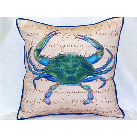 Betsy Drake Male Blue Crab Beige Pillow- Indoor/Outdoor