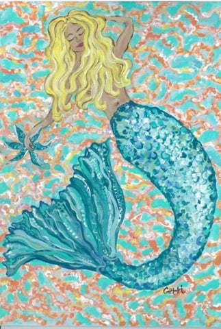 Mermaid Canvas Floor Mat Coastal Style Gifts