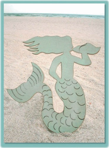 Wooden Mermaid Plaque- Aqua