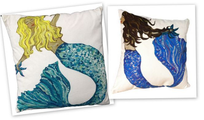 Mermaid A & B Cotton Canvas Pillow Set- Indoor/Outdoor- Oversized