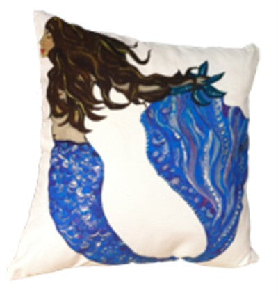 Mermaid B Cotton Canvas Pillow- Indoor/Outdoor- Oversized