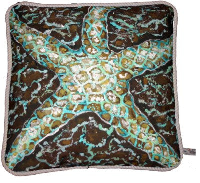 Mosaic Starfish Cotton Canvas Pillow- Indoor/Outdoor- Oversized