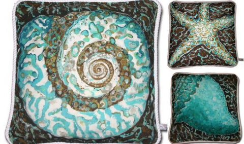 Mosaic Sealife Collection Cotton Canvas Pillow Set- Indoor/Outdoor- Oversized