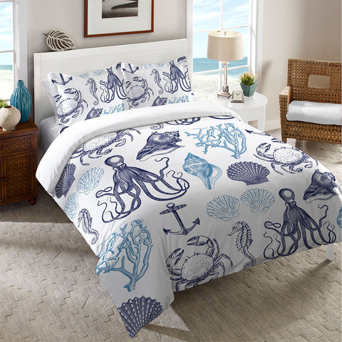 Navy Coastal Creatures Duvet Cover