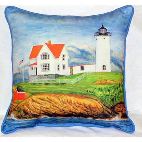 Betsy Drake Nubble Lighthouse Pillow- Indoor/Outdoor