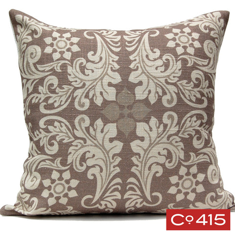 Leaf Square Pillow - Chocolate