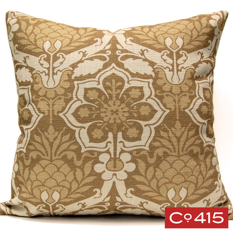 Pineapple Damask Pillow - Gold