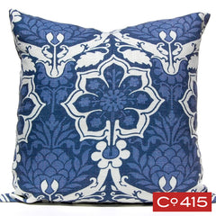 Pineapple Damask Pillow - Navy