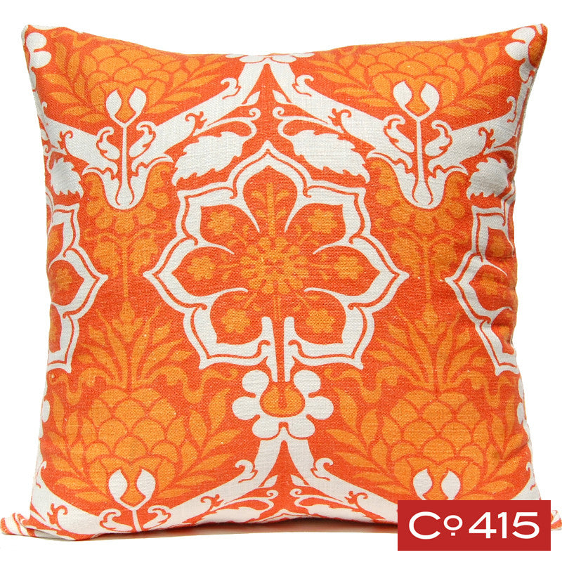 Pineapple Damask Pillow - Orange