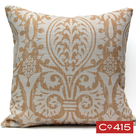 Medieval Damask Pillow - Gold