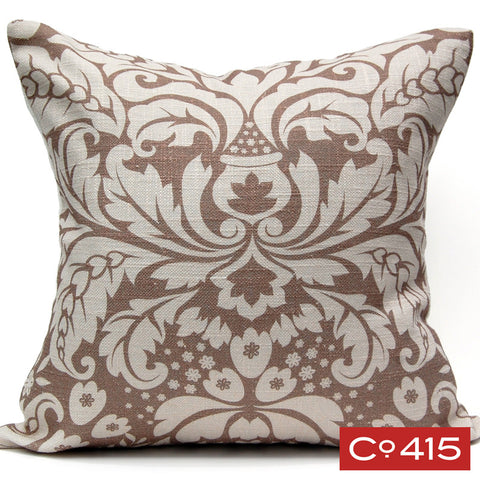 Large Damask Pillow - Chocolate