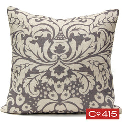 Large Damask Pillow - Gray