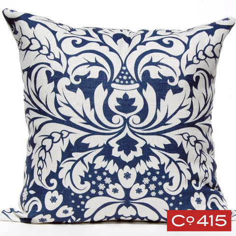 Large Damask Pillow - Navy