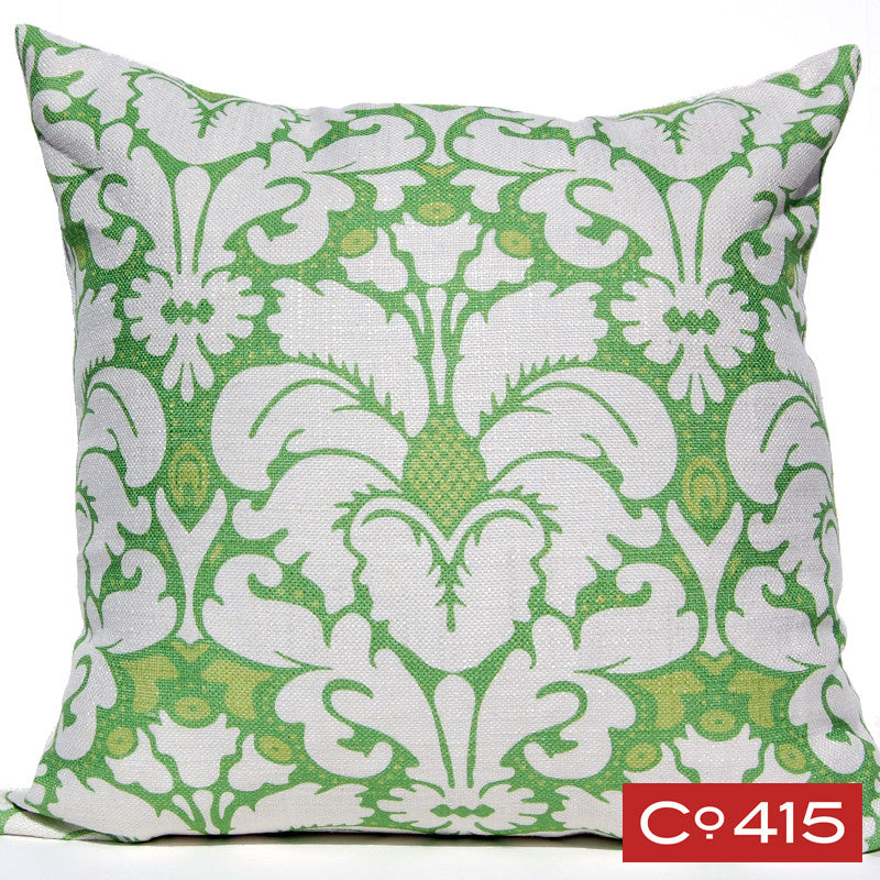 Plumes Damask Pillow - Green
