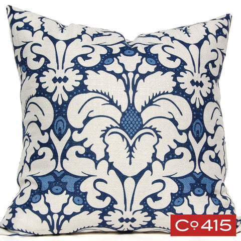 Plumes Damask Pillow - Navy