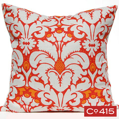 Plumes Damask Pillow - Orange