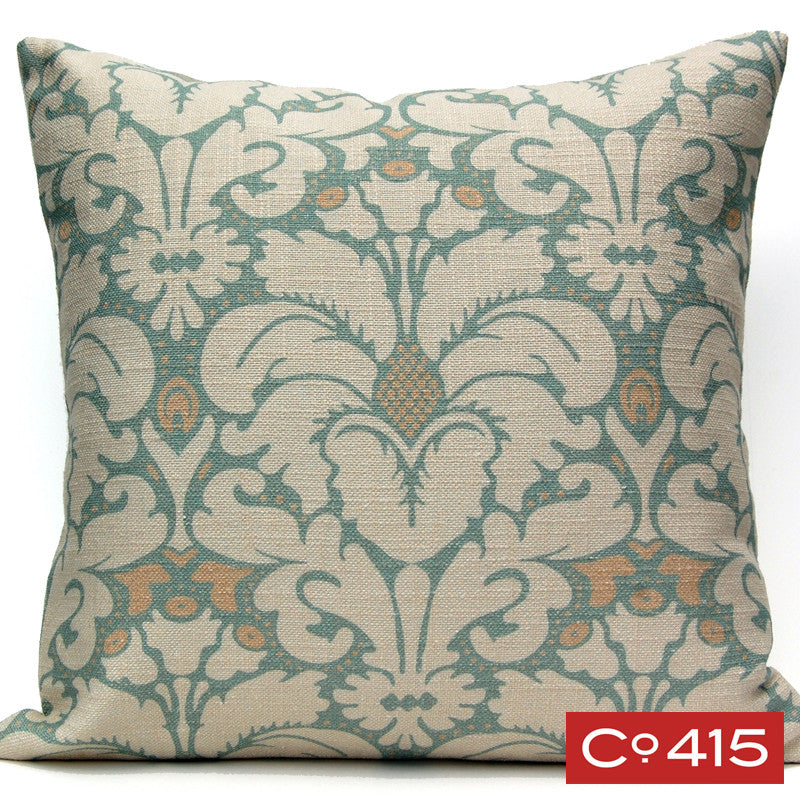 Plumes Damask Pillow - Oyster Bay
