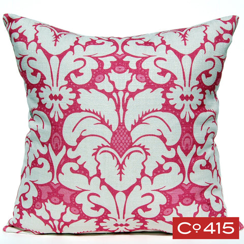 Plumes Damask Pillow - Pink