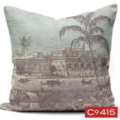 Palm on River Engraving Pillow - Gray