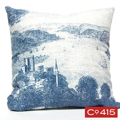 Ships in Harbor Engraving Pillow - Navy