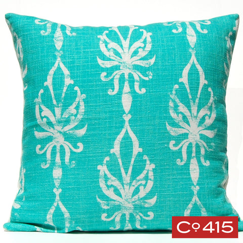 Flourish Ogee Pillow - Aqua
