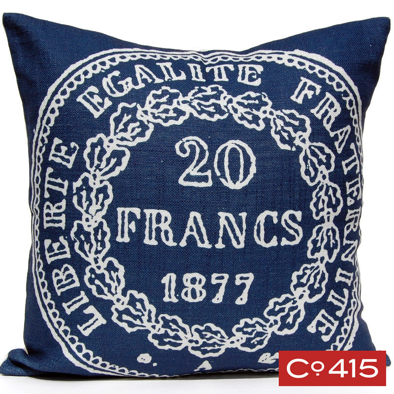 French Coin Pillow - Navy
