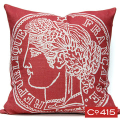 French Coin Red Pillow