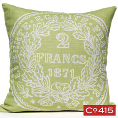 French Coin Pillow - Green