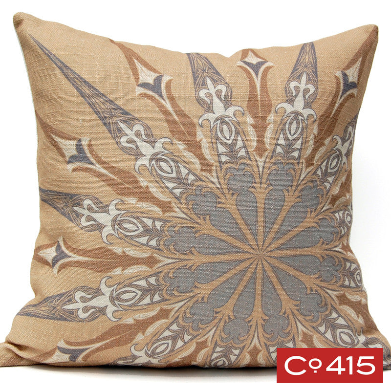 Ornate Compass Pillow - Gold