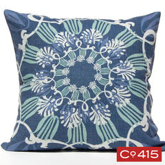 Scroll Suzani Pillow - Navy