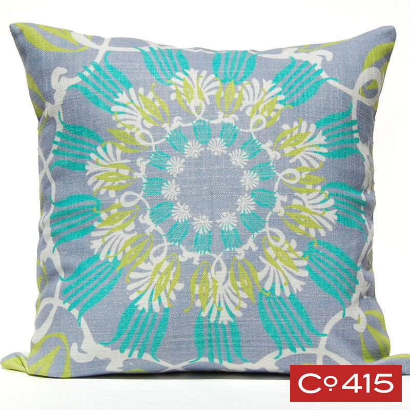 Scroll Suzani Pillow - Ocean