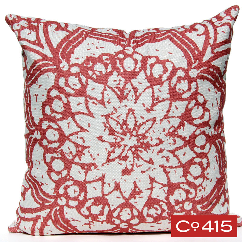 Stamped Flower Pillow - Watermelon