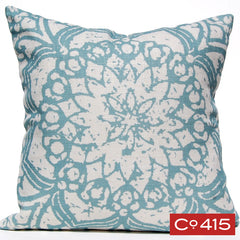 Stamped Flower Pillow - Silverberry
