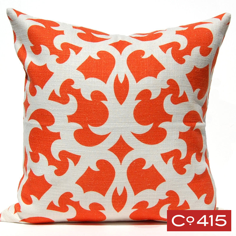 Open Trellis Pillow - Orange