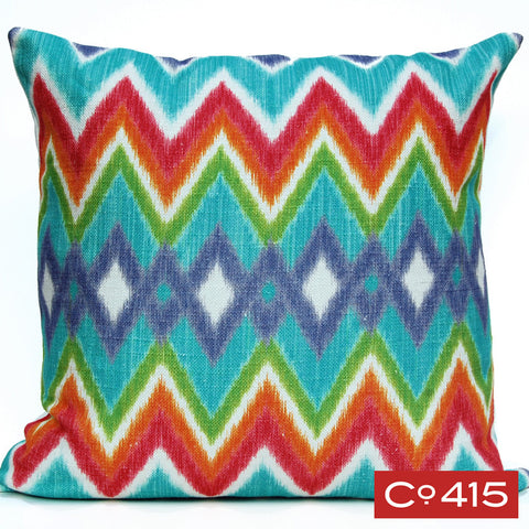 Ikat Chevron Pillow - Aqua