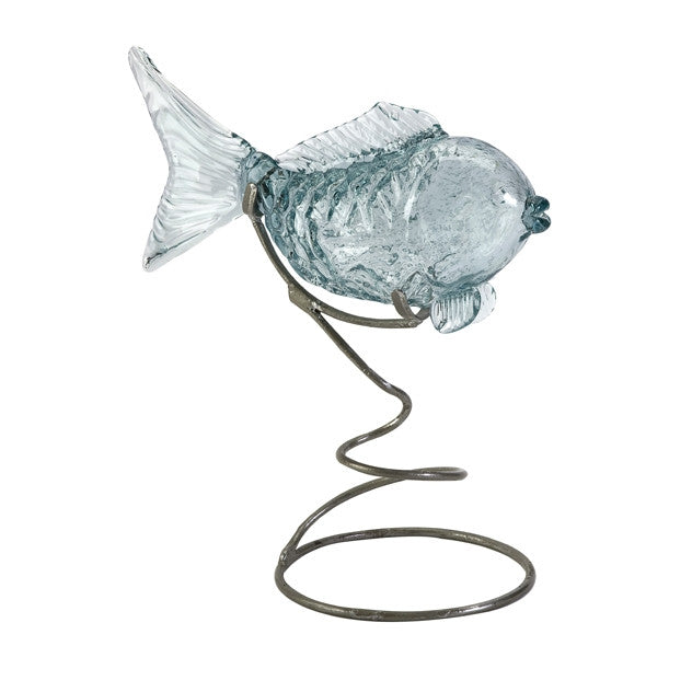 Pisces Glass Fish Statuary on Metal Stand