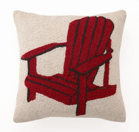 Red Adirondack Chair Hook Pillow