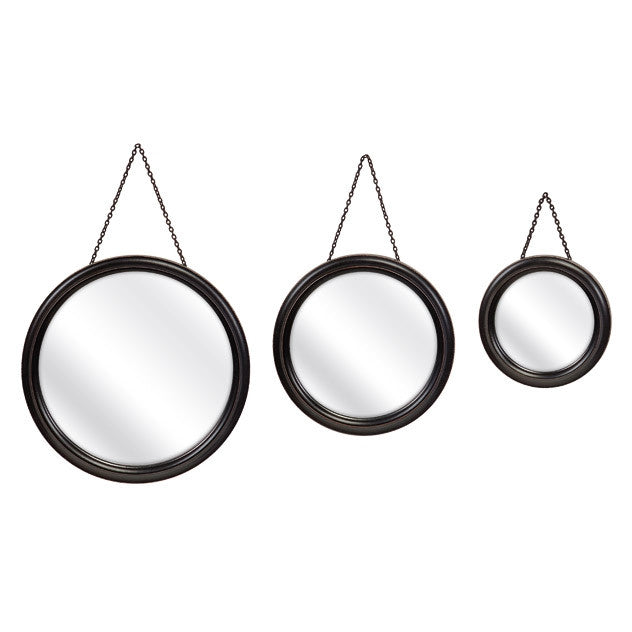 Round Hanging Mirrors- Set of 3