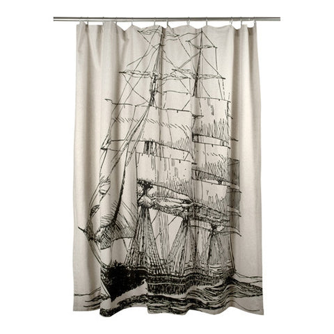 Black Ship Shower Curtain