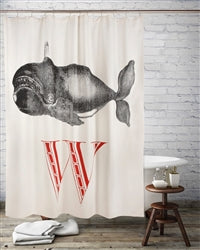 W Whale Shower Curtain