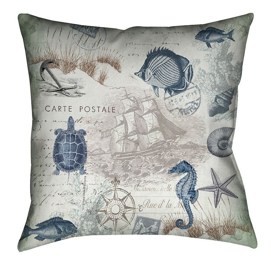 Seaside Postcard Indoor Decorative Pillow